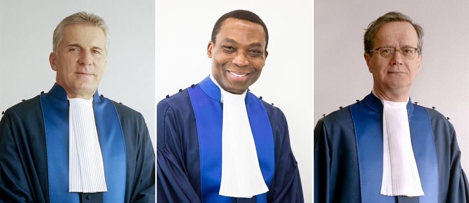 from left to right: ICC First Vice-President Judge Robert Fremr, ICC President Judge Chile Eboe-Osuji, ICC Second Vice-President Judge Marc Perrin de Brichambaut.