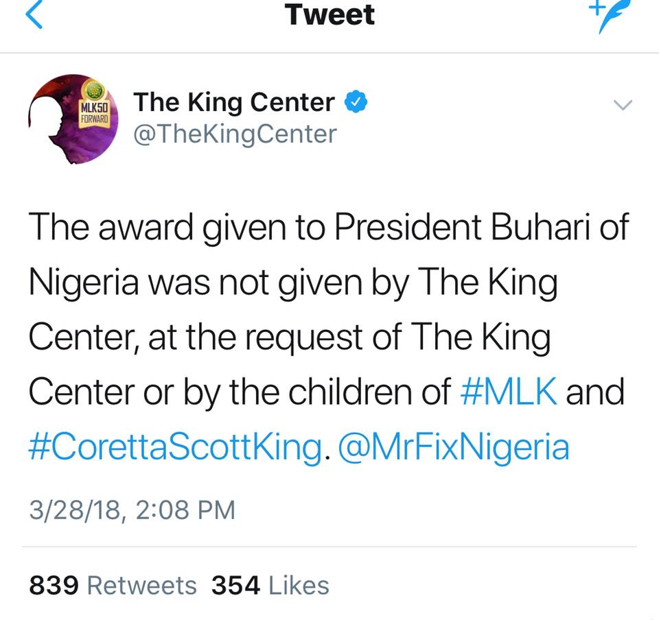 Nigeria: Buhari Receives Fake Martin Luther King's Award