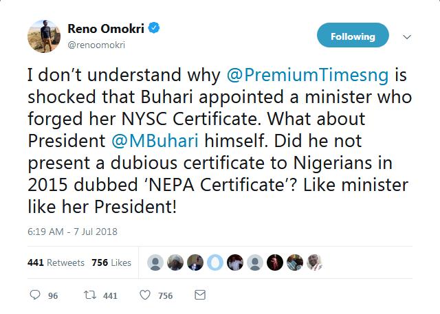 Reno's tweet