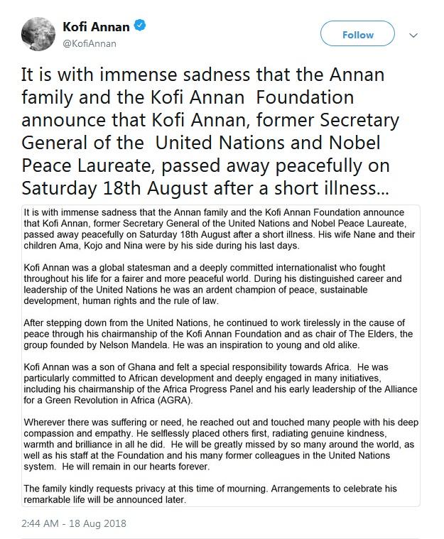 Kofi Annan's Tweet