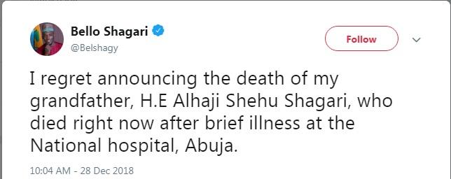 Shehu Shagari is dead