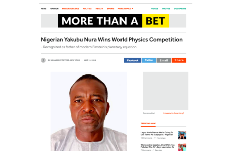 "Dr. Yakubu Nura Did NOT Win Any ""World Physics Competition"" - Farooq Kperogi"