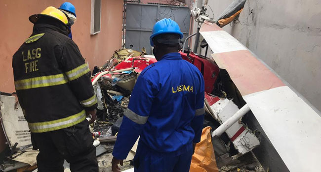 Breaking: Two Dead as Helicopter Crashes in Lagos