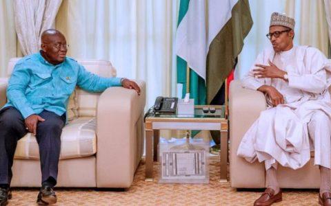 Buhari, Ghana President Meet in Aso Villa