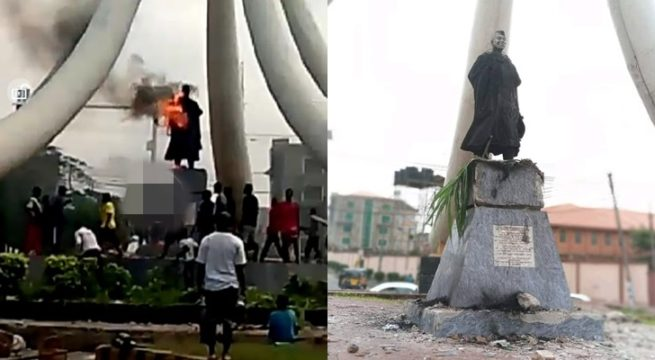 Protesting Youths Set Zik's Statue Aflame in Onitsha, Anambra