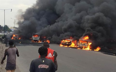 BREAKING: Gridlock as Fuel Tanker catches Fire on Otedola Bridge