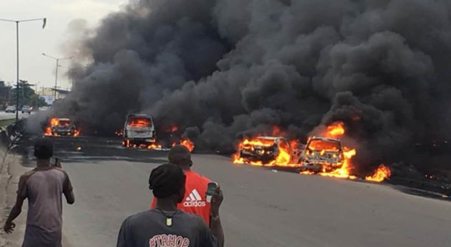 BREAKING: Gridlock as Fuel Tanker catches Fire on Otedola Bridge