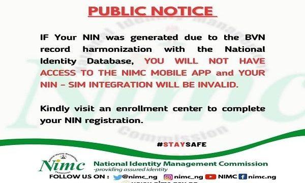 BVN-generated NIN Not Useful – NIMC