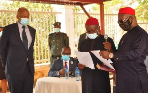Gov. Ugwuanyi Swears in Two Electoral Officers