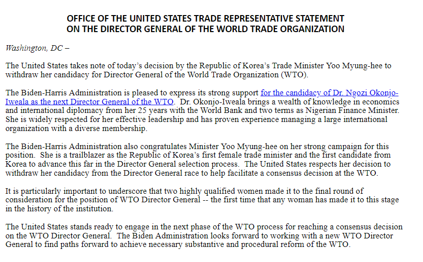 WTO DG: US Officially Endorses Okonjo-Iweala