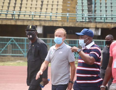 Rohr Takes a Tour of Teslim Balogun Stadium Ahead of AFCON Qualifier