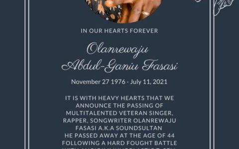 BREAKING: Sound Sultan Dies at 44