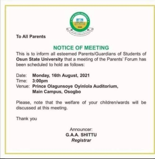 Parents Kick As Osun Varsity Calls For PTA Meeting, Insist University Not Primary Or Secondary School